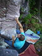 Rock Climbing Photo: Hard move to the decent crimp.  Satermo.