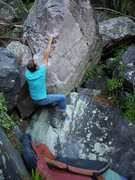 Rock Climbing Photo: Satermo getting established for the weird body-pos...