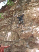 Rock Climbing Photo: Mark above the first bulge to the bolt - the to le...