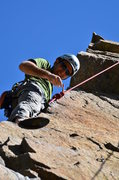 Rock Climbing Photo: At the crux of the Arete route.