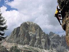 "Rock Climbing Photo: Climbing on ""Torre Trephor"" - Cinque Tor..."