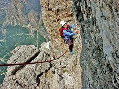 """Rock Climbing Photo: LKis is climbing """"Via Maria"""" on Sass Por..."""