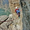 "LKis is climbing ""Via Maria"" on Sass Pordoi - Dolomites of Italy"