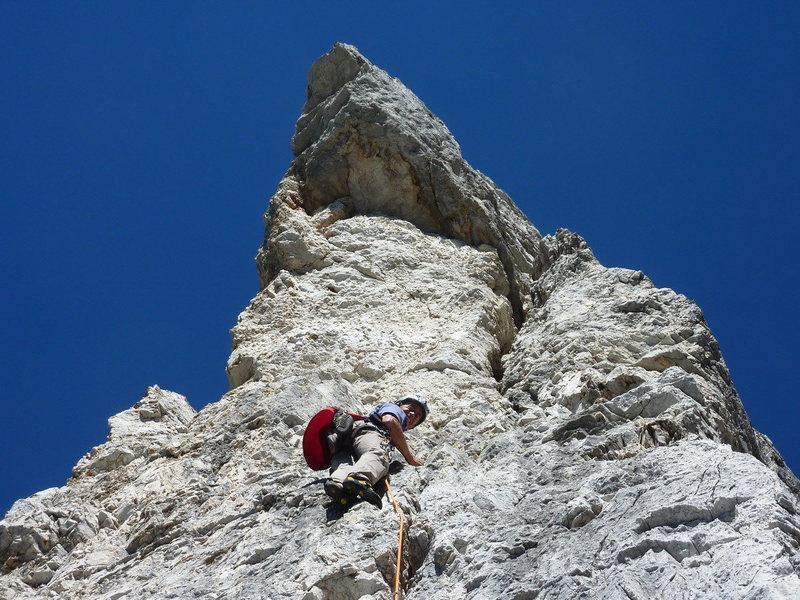 "Enrico Maioni leading ""Spigolo Jori"" on Punta Fiames."
