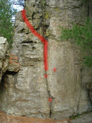 Rock Climbing Photo: Red marks the path