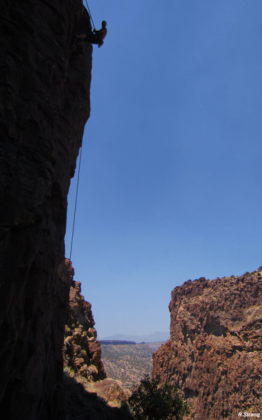 Mike rappeling off JetStream after the First Ascent