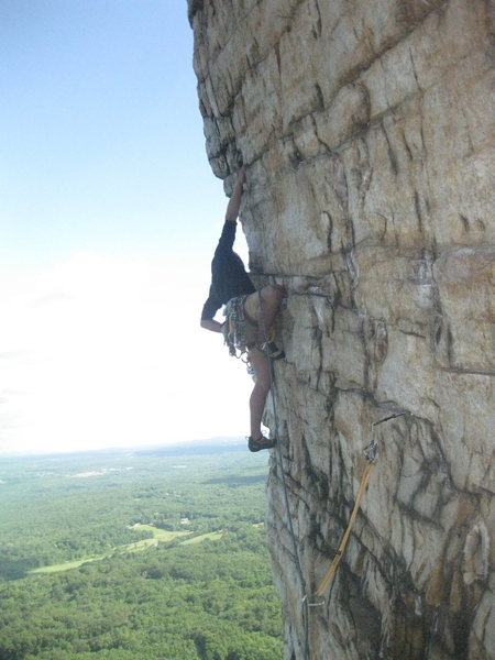 Rock Climbing Photo: There are two old pins on the traverse and you can...