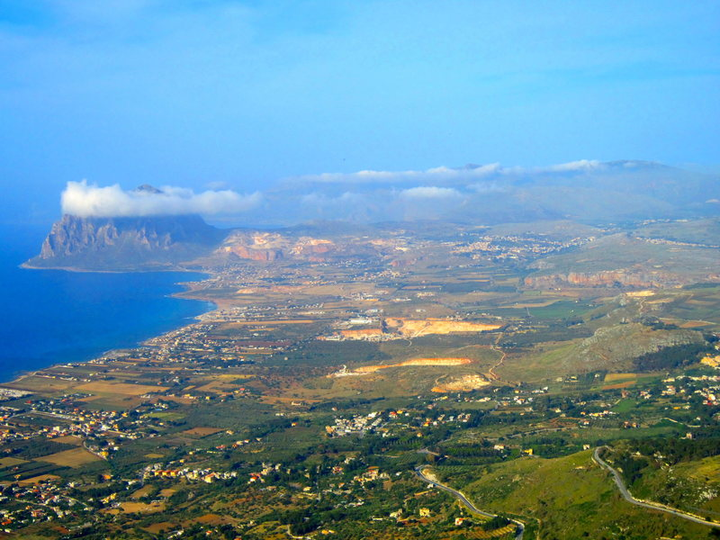 Rock Climbing Photo: The view from the mountaintop village of Erice tow...