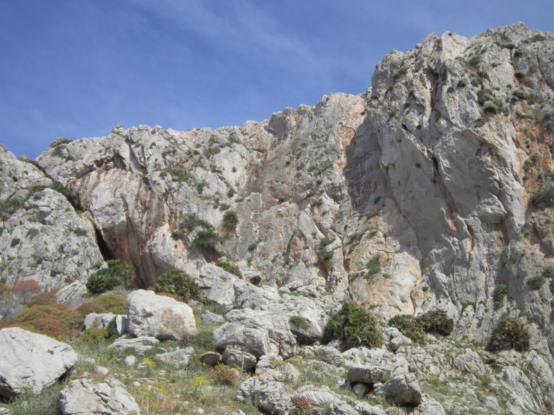 A view of the crag from the dirt road.