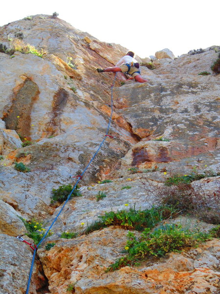 Rock Climbing Photo: Use the flake to move out left.