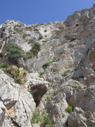 Rock Climbing Photo: Rachel trying not to get cut up on the limestone r...