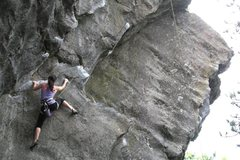 Rock Climbing Photo: christina on the technical bit before the rest led...