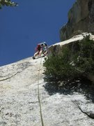 Rock Climbing Photo: Looking up at the 4th pitch from the bush/tree bel...