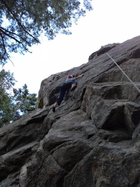 Rock Climbing Photo: Deb gets into the upper slab crux.