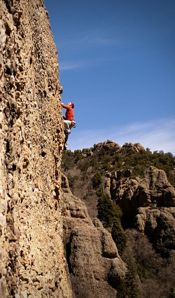 Rock Climbing Photo: Perin Blanchard at the final thin bit.  Photo by K...