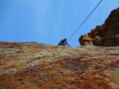 Rock Climbing Photo: Climbing Pink Canoe (5.10a)in Rock Canyon Utah