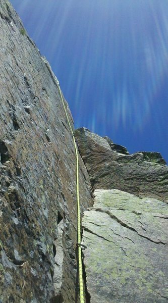 Rock Climbing Photo: Looking up at the last pitch.