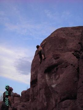 Rock Climbing Photo: nate brun on a big one!!