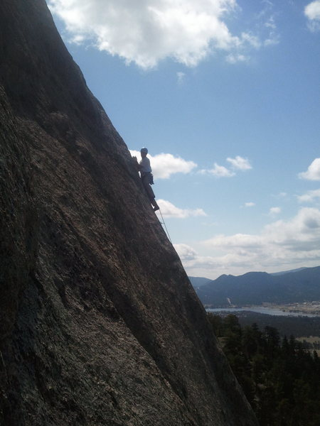About to set up belay below headwall pitch.