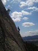 Rock Climbing Photo: Lee reaching the belay.