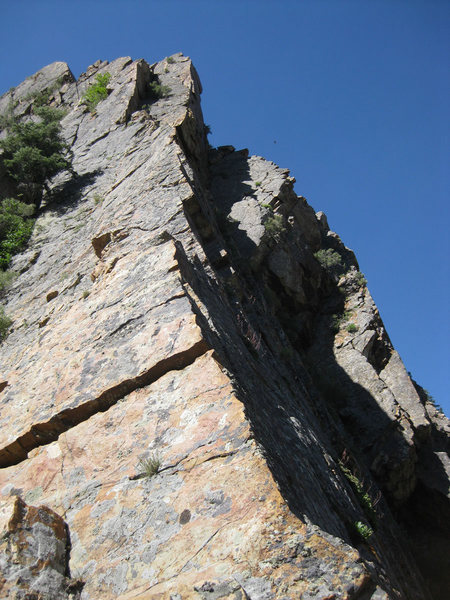 Looking up the beautiful, exposed section of the ridge.  I belayed at the base of the shadowy dihedral above.