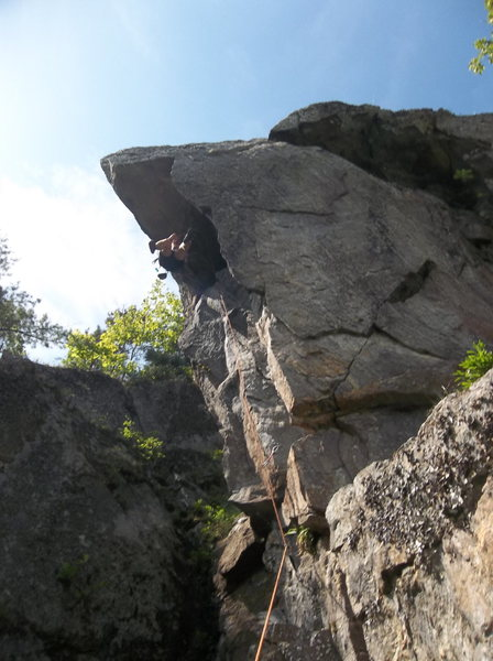 Rock Climbing Photo: Mike post crux whip.  Check out the plumb line fro...