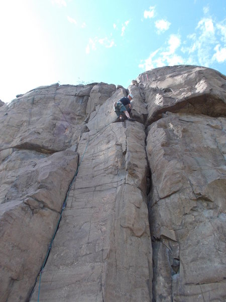Mike Keegan completing the traverse on Hammerhead.