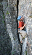 Rock Climbing Photo: John Ross at the thin bit.  Photo by Kip Henrie.
