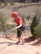 Rock Climbing Photo: Gabby starts her first ever rappel.