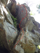 Rock Climbing Photo: An acrobatic start leads to face/arete climbing be...