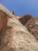 Rock Climbing Photo: Adam leading pitch 4.