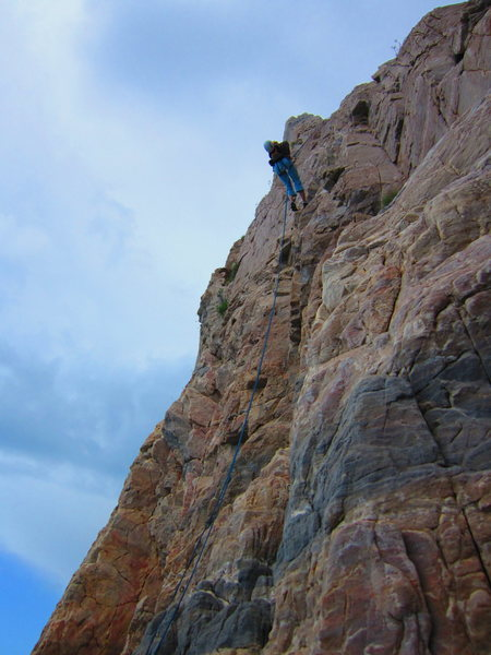 Rock Climbing Photo: Descending the route.
