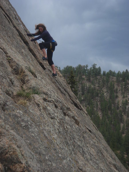 Rock Climbing Photo: Laura leading Happy Trails.