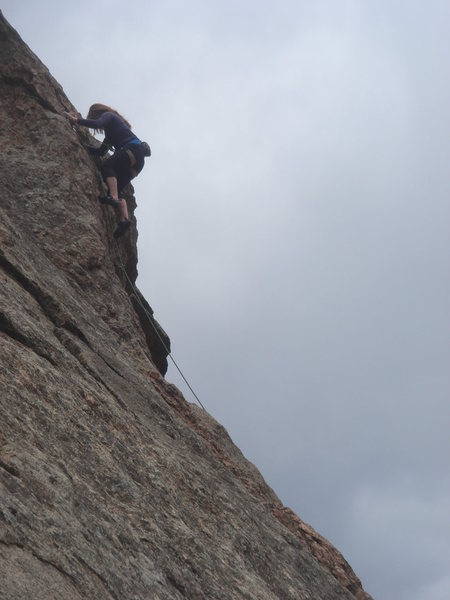 Laura finishing the crux.