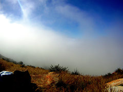 Rock Climbing Photo: 6.9.12::Misty, cool and foggy morning @ ECM