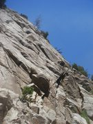 Rock Climbing Photo: Chris high on lead.