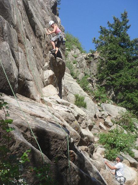 Rock Climbing Photo: Eva leading Chouette.
