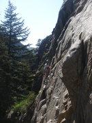 Rock Climbing Photo: Chris leading Bosch Blanket Bingo.