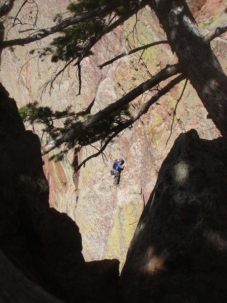 The Great Zot from West Chimney.  Paul on lead.