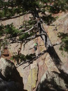 Rock Climbing Photo: Ross Downer leading pitch 2.  From West Chimney.