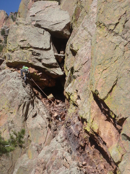 Rock Climbing Photo: Ross on the pitch 2 traverse.