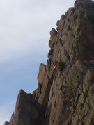 Rock Climbing Photo: Climber on pitch 6 of Rewritten.  From summit of S...
