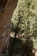 Rock Climbing Photo: Dean Hoffman approaching the crux of Mulligan Stew...