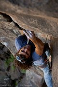 Rock Climbing Photo: Darren Mabe entering the splitter section of Never...