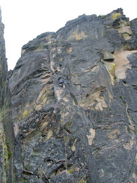 Rock Climbing Photo: Pitch 7.  Joe W. scared out of his mind.  Could us...