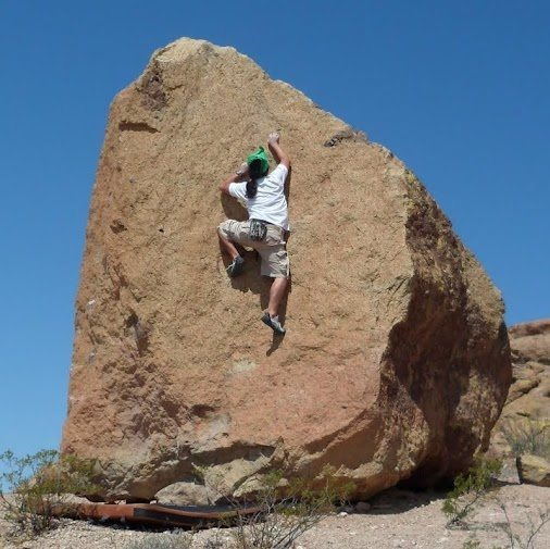 Rock Climbing Photo: High Tales Protest (V0) on Smith Boulder. Pena Bla...