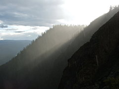 Rock Climbing Photo: Freak rain storm top of Goose Egg Mt.