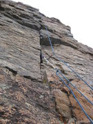 Rock Climbing Photo: Upper half of finger crack finish on the south fac...