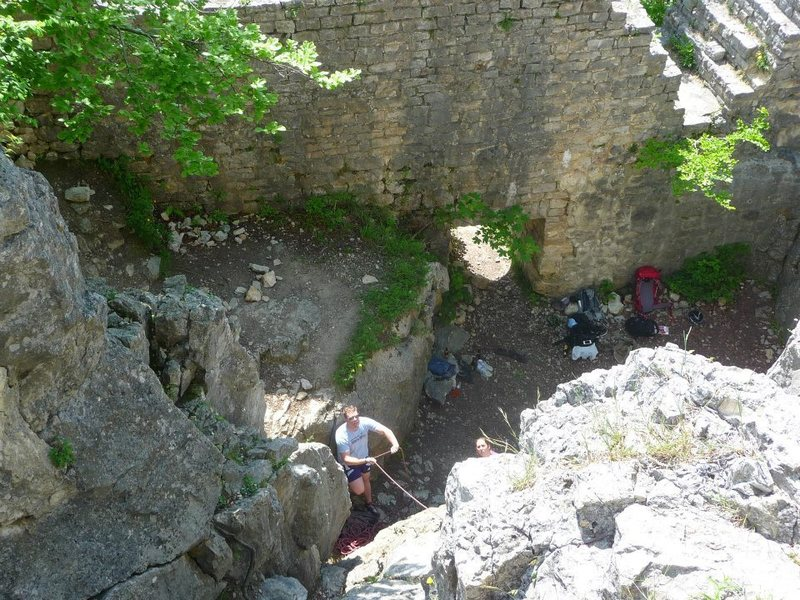 View of the inside of the tower from the top of the climbing area.