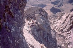 Rock Climbing Photo: North Rabbit Ear:  looking up at the Pea Pod (Apr....